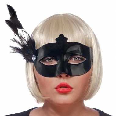Zwart oogmasker veren dames carnavalskleding valkenswaard