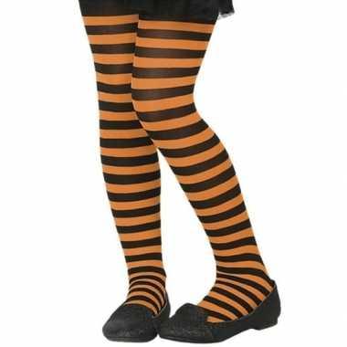 Zwart/oranje verkleed panty kinderen carnavalskleding valkenswaard