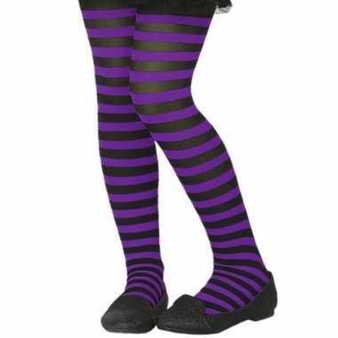 Zwart/paarse verkleed panty kinderen carnavalskleding valkenswaard