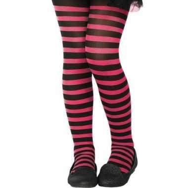 Zwart/roze verkleed panty kinderen carnavalskleding valkenswaard