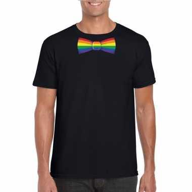 Zwart t shirt regenboog vlag strikje heren carnavalskleding valkenswa