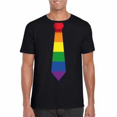 Zwart t shirt regenboog vlag stropdas heren carnavalskleding valkensw
