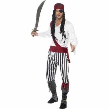 Zwart/wit piraten carnavalskleding heren valkenswaard