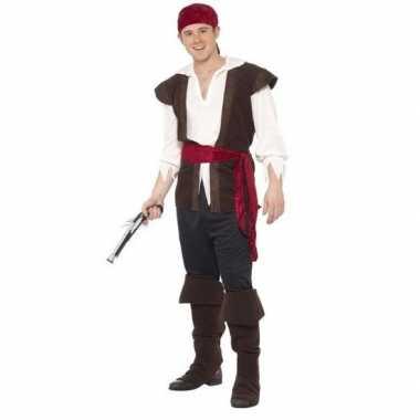 Zwart/wit/rood piraten carnavalskleding heren valkenswaard