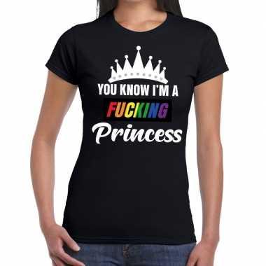 Zwart you know i am a fucking princess gay pride t shirt dames carnav