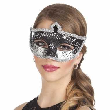 Zwart/zilver oogmasker glitters dames carnavalskleding valkenswaard