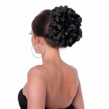 Zwarte bloem haarklem carnavalskleding valkenswaard