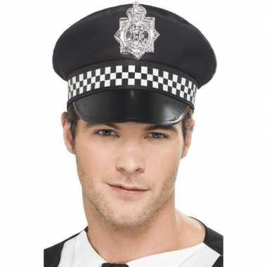 Zwarte britse politiepet heren carnavalskleding valkenswaard