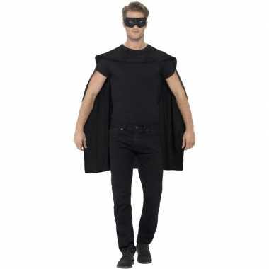 Zwarte cape oogmasker volwassenen carnavalskleding valkenswaard