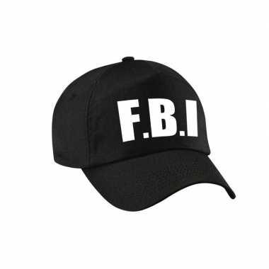 Zwarte fbi politie agent verkleed pet / cap volwassenen carnavalskled