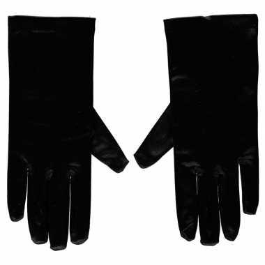 Zwarte gala handschoenen kort satijn carnavalskleding valkenswaard