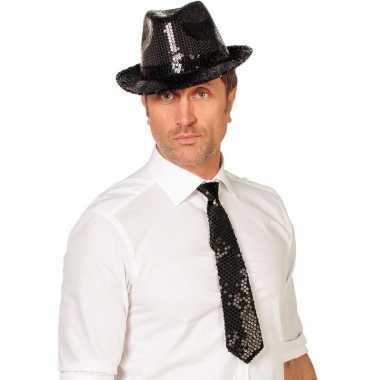 Zwarte glitter stropdas verkleedaccessoire dames/heren carnavalskledi