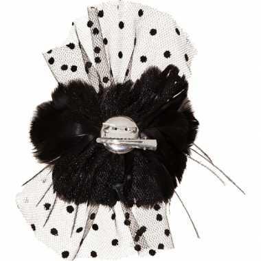 Zwarte haar ornamenten bloem carnavalskleding Valkenswaard