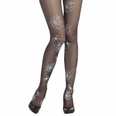 Zwarte heksen panty denier spinnenweb print dames carnavalskleding va
