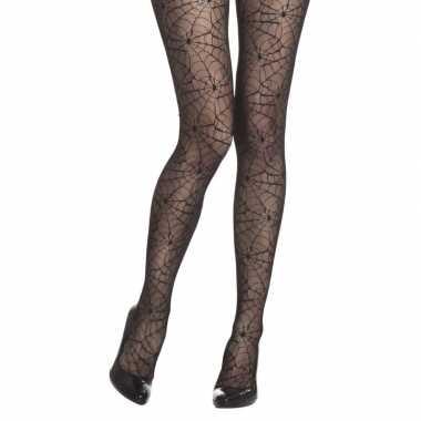Zwarte heksen panty zwarte spinnenwebben dames carnavalskleding valke