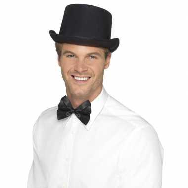 Zwarte hoge hoed satijn look heren carnavalskleding valkenswaard