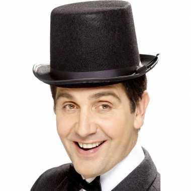 Zwarte hoge hoed vilt heren carnavalskleding valkenswaard