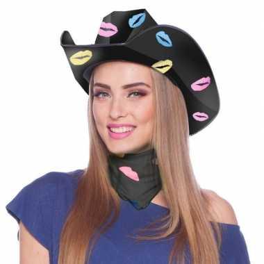 Zwarte kartonnen cowboyhoed lippen/kusjes dames carnavalskleding valk