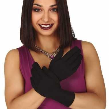 Zwarte korte verkleed handschoenen volwassenen carnavalskleding valke