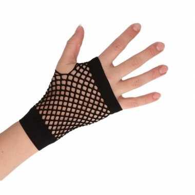 Zwarte korte visnet handschoenen volwassenen carnavalskleding valkens