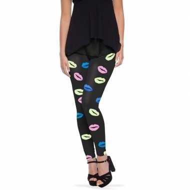 Zwarte legging lippen/kusjes dames carnavalskleding valkenswaard