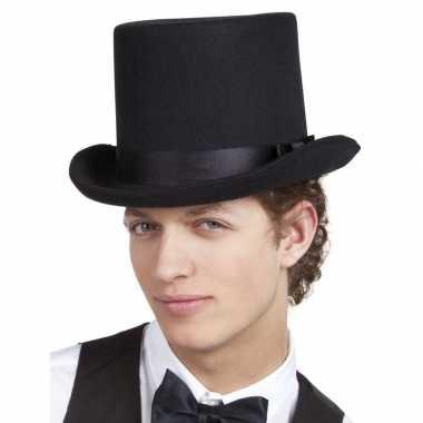 Zwarte luxe hoge hoed heren carnavalskleding valkenswaard