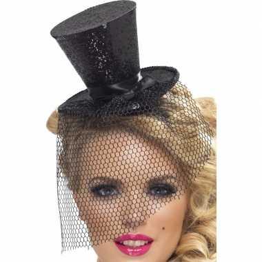 Zwarte mini hoedje diadeem carnavalskleding valkenswaard