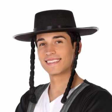 Zwarte orthodoxe jood verkleed hoed heren carnavalskleding valkenswaa
