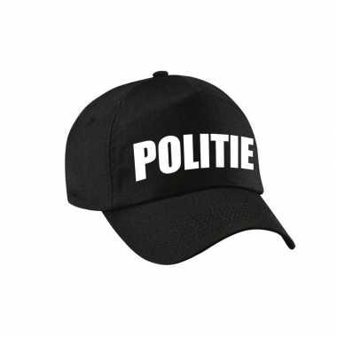 Zwarte politie agent verkleed pet / cap volwassenen carnavalskleding