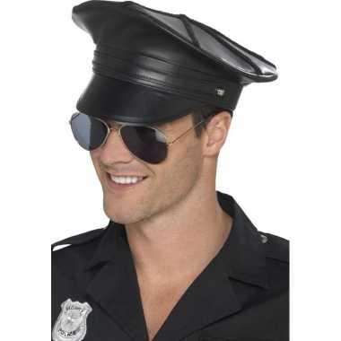 Zwarte politiepet lederlook heren carnavalskleding valkenswaard