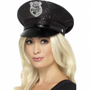 Zwarte politiepet pailletten dames carnavalskleding valkenswaard
