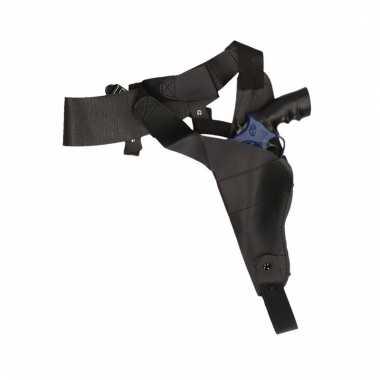 Zwarte schouder holster nep politie pistool carnavalskleding valkensw