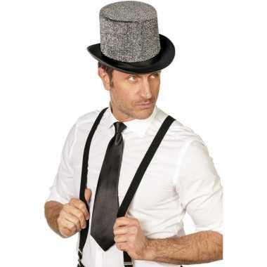 Zwarte stropdas verkleedaccessoire dames/heren carnavalskleding valke