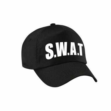 Zwarte swat team politie verkleed pet / cap volwassenen carnavalskled