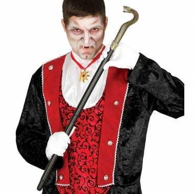 Zwarte vampier/dracula wandelstok slang carnavalskleding valkenswaard