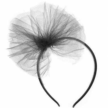 Zwarte verkleed diadeem tule strik meisjes carnavalskleding valkenswa