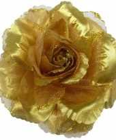 Corsage gouden glitter bloem accessoire