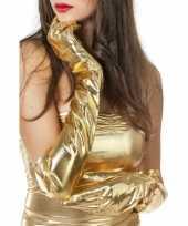Dames lang handschoenen goud