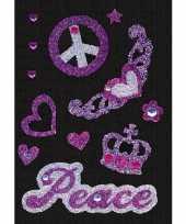 Decoratie glitter stickers vrede