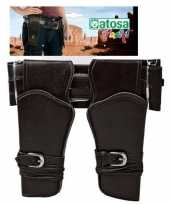 Dubbele cowboy holster donkerbruin brede riem verkleed acces
