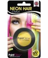 Gele glow the dark haarkrijt
