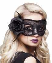 Gemaskerd bal oogmasker zwart roos