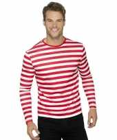 Gestreepte shirts volwassenen wit rood