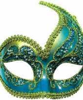 Glitter oogmasker blauw goud
