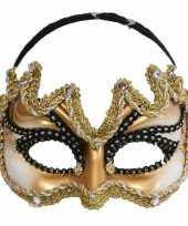 Gouden heren oogmaskers zwarte rand