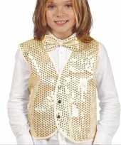 Gouden verkleed gilet pailletten kinderen