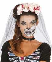 Halloween horror tiara bloederige rozen sluier