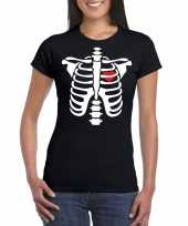 Halloween skelet t-shirt zwart dames