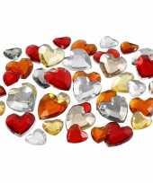 Hartvormige glinster steentjes assorti rood