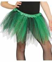 Heksen verkleed petticoat tutu groen zwart glitters meisjes